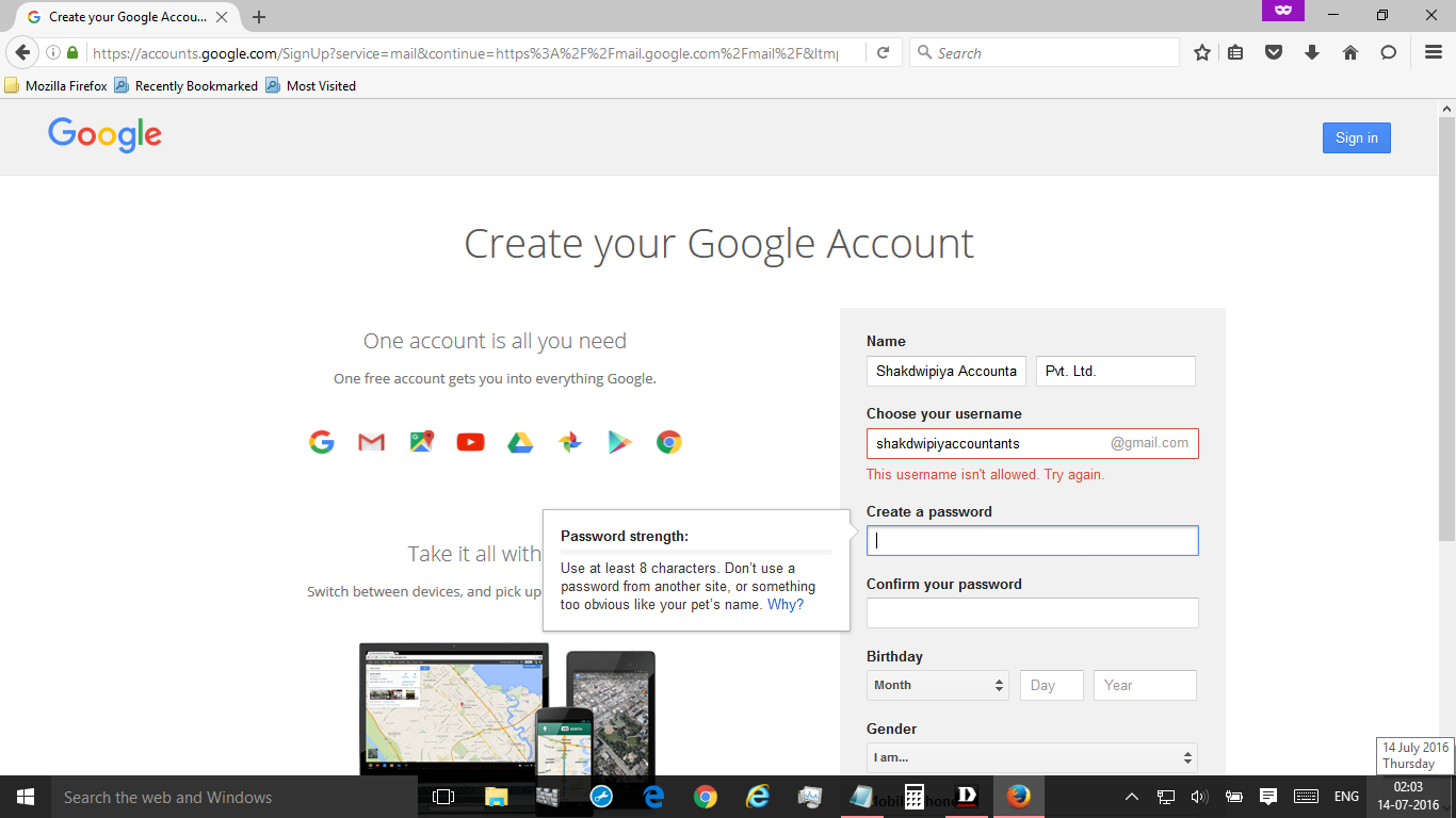 how to change username in gmail account