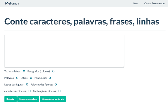 Ferramenta online para contar caracteres, palavras, frases, linhas
