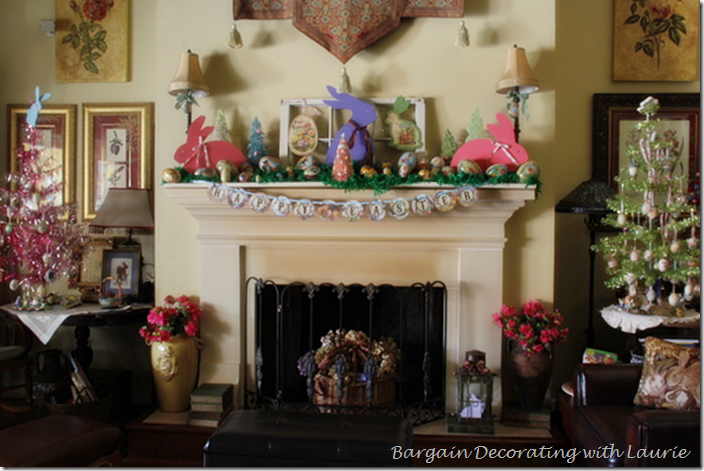 EASTER DECOR ON FIREPLACE AND TREES