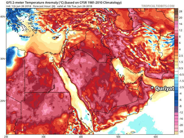 Temperature difference from normal at 10 p.m. local time on Tuesday, 26 June 2018, in Oman, analyzed by the American (GFS) model. Graphic: TropicalTidBits.com
