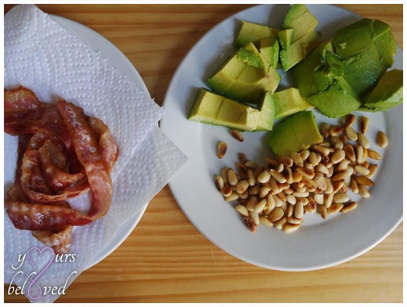 Bacon, pinenuts, and avocado