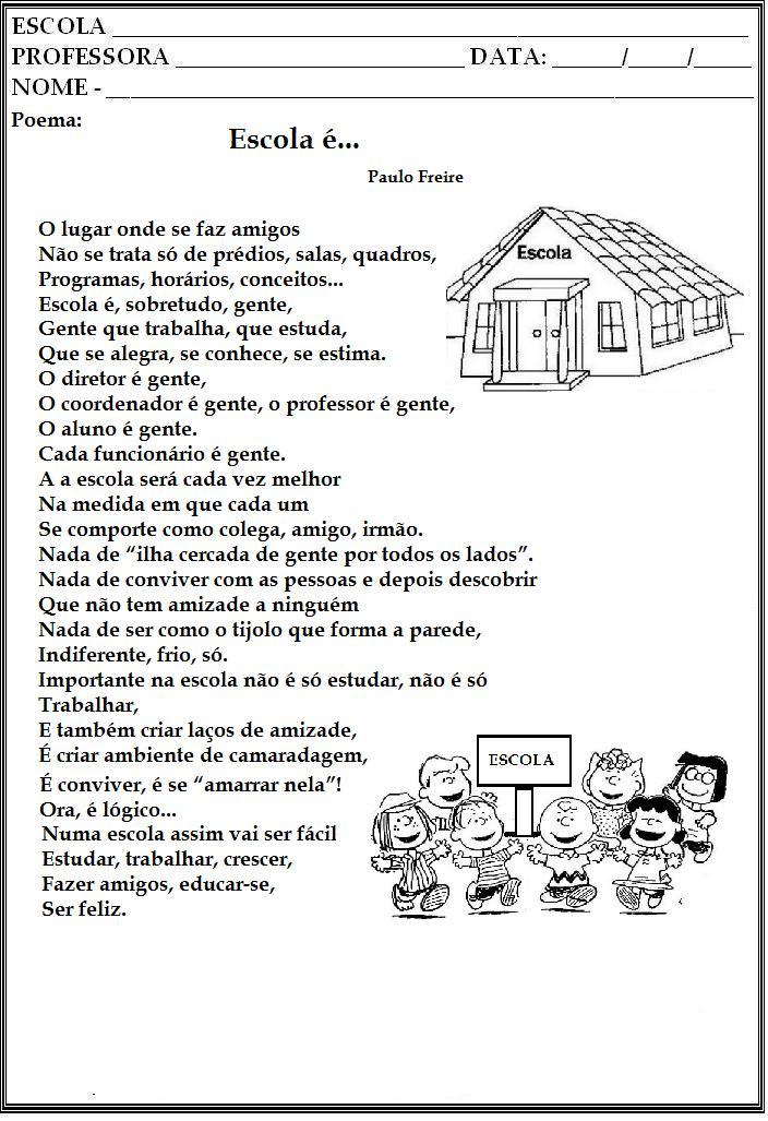 15 de Março- Dia da Escola - Poemas: Escola (Paulo Freire),A escola