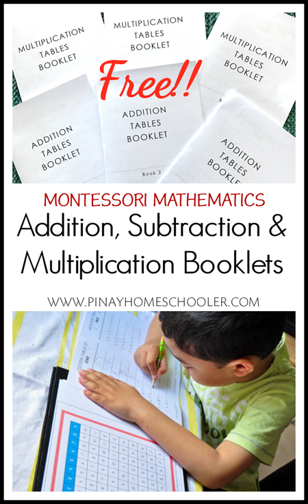FREE Montessori Addition, Subtraction, and Multiplication Booklets