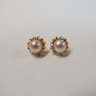 14K Gold and Pearl Solitaire Earrings