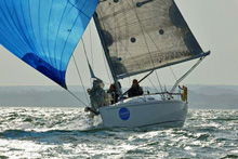 J/97 sailboat- sailing on Solent, England