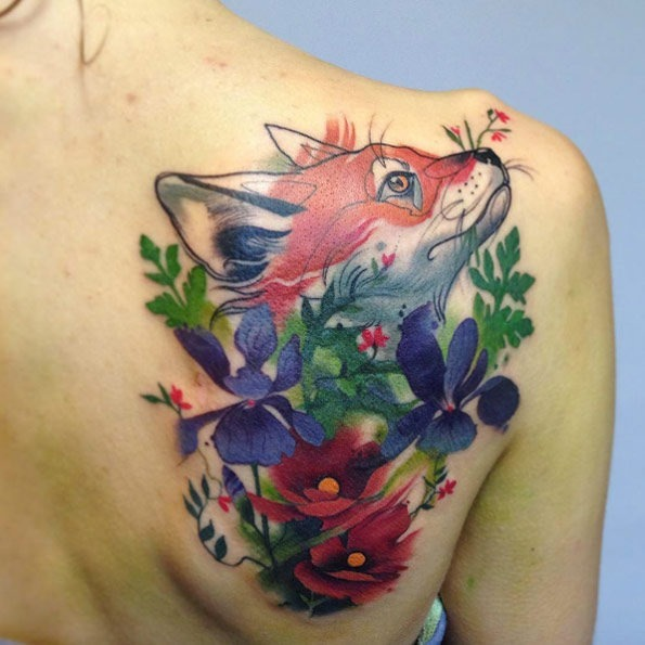 este_floral_fox_desenho_de_tatuagem