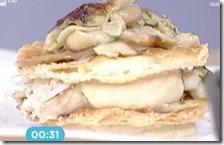 Millefoglie di arlettes con porcini e crema di patate