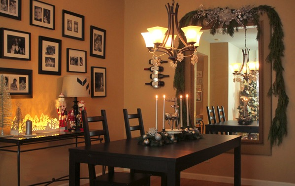 Simple Silver Christmas Dining Room