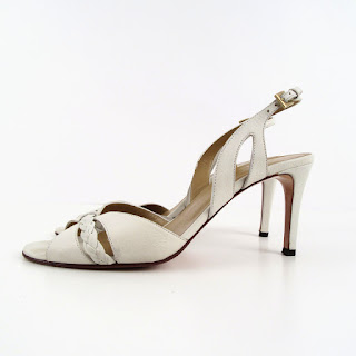 Valentino Garavani White Leather Open Toe Sandal Pumps
