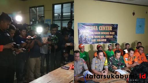 Rilis hasil akhir Proses Pencarian Korban Longsor Cisolok Sukabumi hari ke-5 / Foto : Isep Panji (4/1/2019)