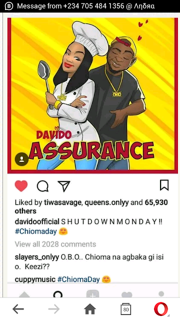 Davido To Shutdown The Internet With Chef Chioma 'Assurance' (Photo)