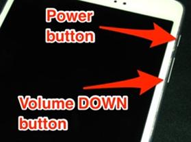 Volume Down + Power