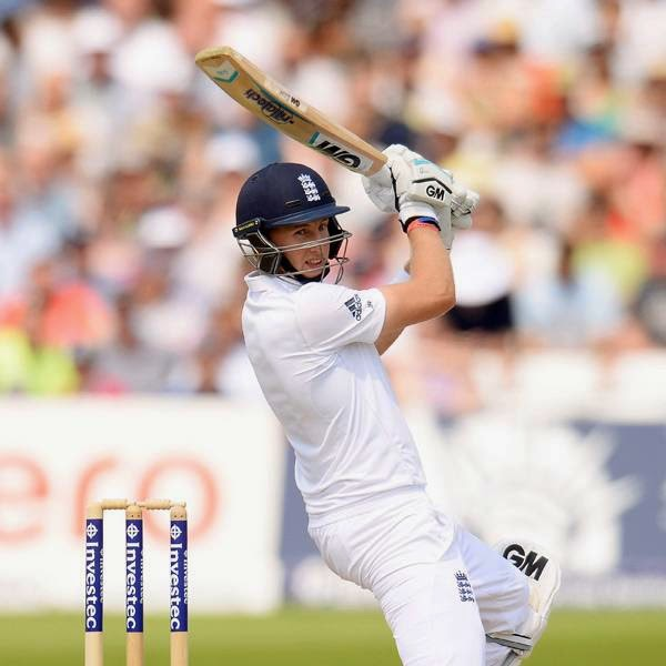 England's Joe Root hits out during the first cricket test match against India at Trent Bridge cricket ground in Nottingham, England July 12, 2014.
