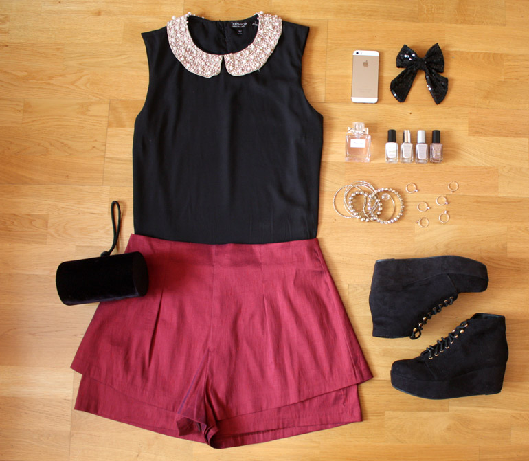 embroidered collar blouse metallic shorts fashion outfit flat lay from the high street