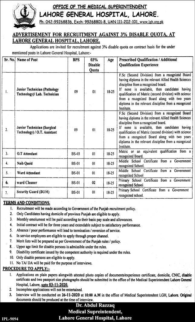 Lahore General Hospital Jobs October 2020