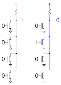 4-input NOR gate constructed from NMOS transistors.