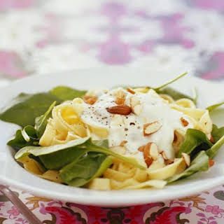 Pasta with Creme Fraiche and Almonds.