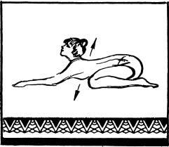Сесть себе на пятки, наклонить корпус вперед, вытянув вперед руки и касаясь подбородком пола