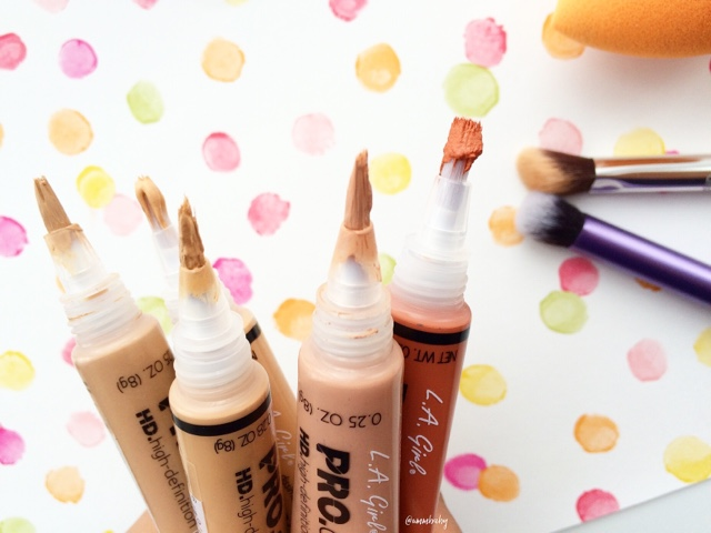 LA Girl Pro Concealer review with Pure Beige, Creamy Beige and Orange Corrector NC40 swatch