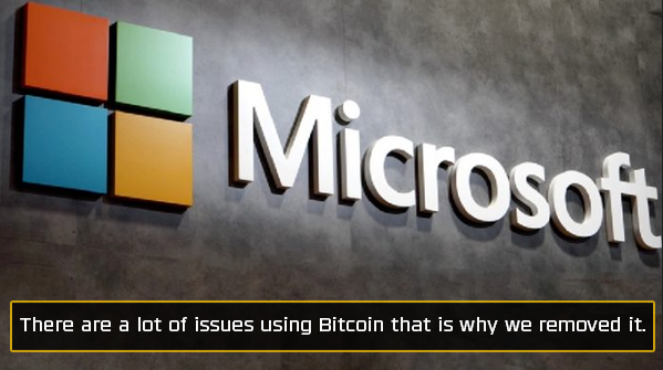 Microsoft stopped accepting bitcoin
