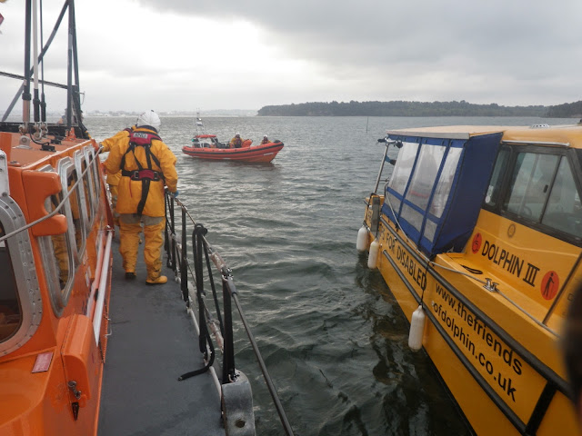 Poole ILB and ALB alongside The Friends of Dolphin boat in a training exercise - 22 April 2014 Photo: RNLI Poole/Anne Millman