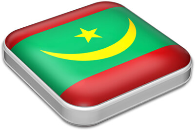 Flag of Mauritania with metallic square frame
