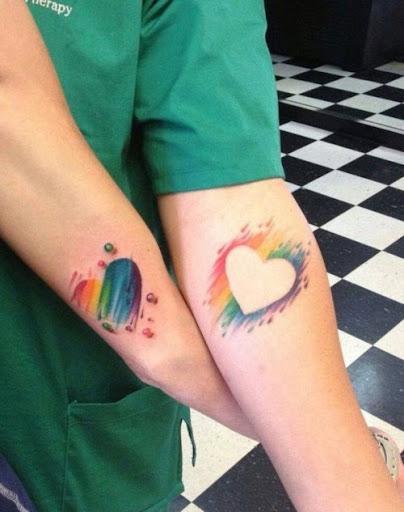 Aquarela Coracao Tatuagens para casais