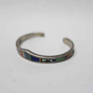 Calvin Begay Sterling Silver and Stone Cuff Bracelet