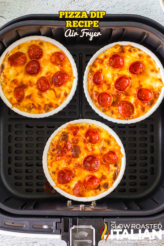 Pizza Dip Recipe (Air Fryer) 3 dishes in the basket