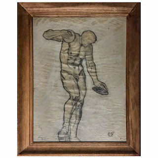 Art Deco Signed Discus Thrower Drawing
