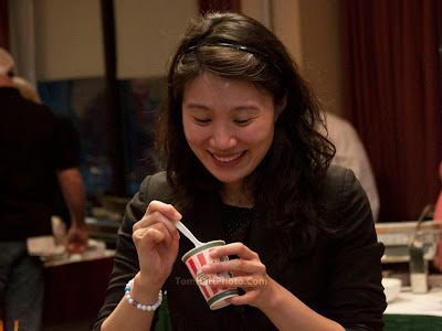 Sarah Lim of JD's Steakhouse enjoying Rita's Italian Ice at the end of the evening.    Photos by TOM HART/  FREELANCE PHOTOGRAPHER