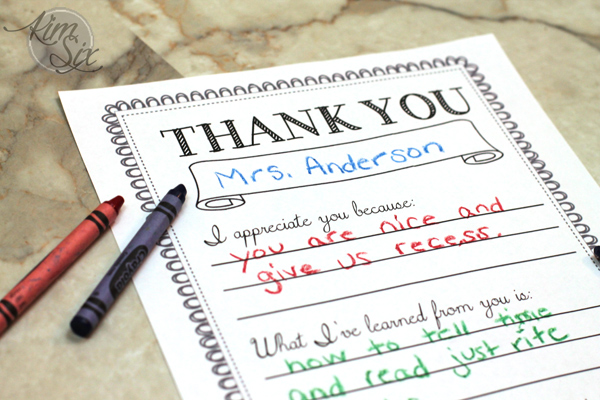 Teacher Thank You fill In Printable