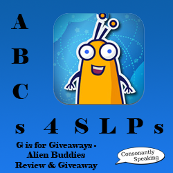 ABCs 4 SLPs: G is for Giveaways - Alien Buddies Review and Giveaway image