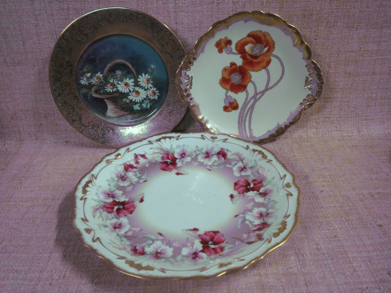 Limoges Gilded Floral Plate Trio