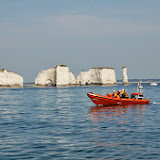 Poole's B class Atlantic 85 lifeboat off Old Harry rocks Sunday 14 July 2013 Photo: RNLI Poole/Dave Riley