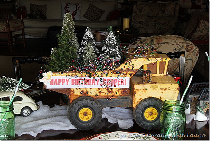 Christmas tree delivery truck for birthday centerpiece