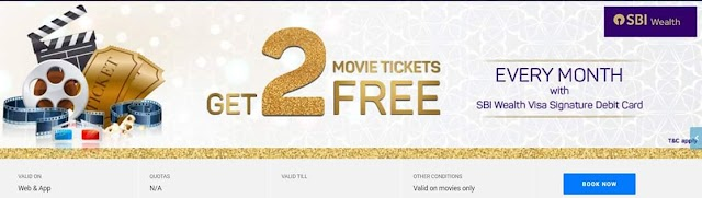 BookMyShow SBI Wealth Visa Signature Debit Card Offer - Get 2 Free Movie Tickets Per Month or Rs. 500 Off