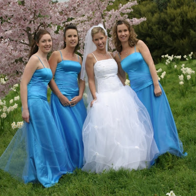 Melissa's bridesmaids - strapless gowns with tulle over-skirts