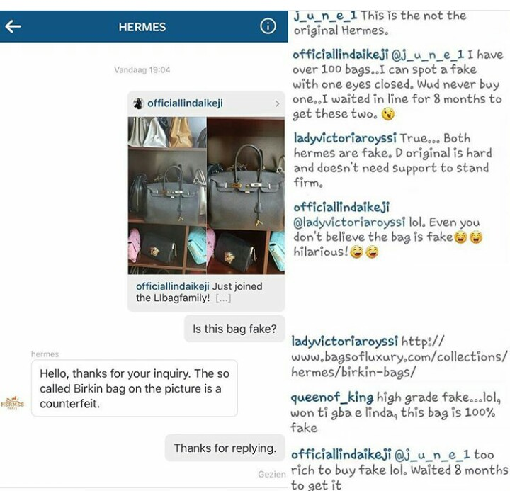 d186014ef85a CONTROVERSY AS Hermes confirms that Linda Ikeji s bags are FAKE ...