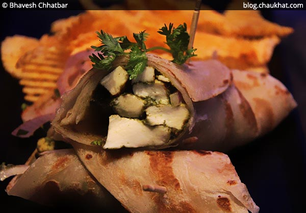 Close-up of Pahadi Paneer Roll, BarBar, Phoenix Market City, Viman Nagar, Pune