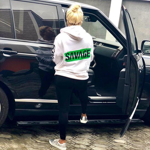 Nigerian radio personality and television host, Toke Makinwa shared this photo of herself rocking Tiwa savage's sweatshirt