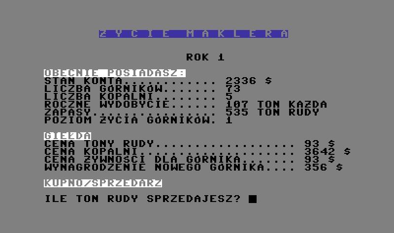 Życie Maklera, IKS 1986..