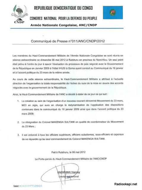 Communiqué annonçant la création du mouvement politico-militaire M23