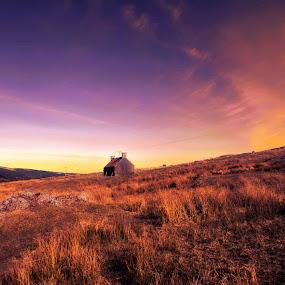 Heatherlea,Ardgay Scotland by Morag Soszka - Landscapes Mountains & Hills ( scotland, ardgay, sunset, bothy, sunrise )