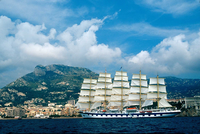 The Royal Clipper sails in the Mediterranean in the south of France.