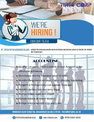 Lowongan Kerja PT Tirta Corp Posisi Accounting