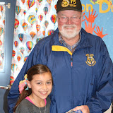 """Papa Steve"" Olson presenting to grand-daughter Aubryanna Cordova at Jack London Elementary"