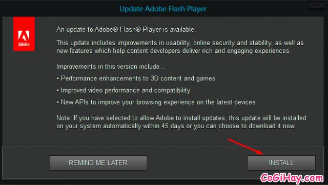 tiến hành cập nhật Adobe Flash Player