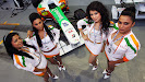 Force India's pit girls where also walking around.