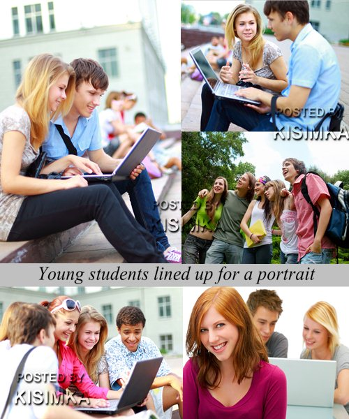 Stock Photo: Young students lined up for a portrait
